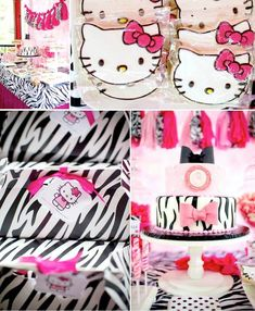 Hello Kitty Pink Zebra themed birthday party with Lots of Really Cute Ideas via Kara's Party Ideas Kara Allen KarasPartyIdeas.com #HelloKitty #GirlsBirthdayParty #PartyDecorations #BirthdayParty #PartyPlanning #PartyIdeas #ParisParty