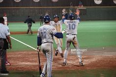 World Series, Toronto Blue Jays Rickey Henderson victorious, scoring run vs Philadelphia Phillies, Philadelphia, PA