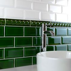 These brick shaped ceramic Victorian Green Wall Tiles belong to our range of Mini Metro Tiles and have a gloss finish and a definitive bevelled edge. Victorian Tiles Bathroom, Metro Tiles Bathroom, Vintage Bathrooms, Bathroom Floor Tiles, Bathroom Wall, Green Subway Tile, White Wall Tiles, Green Tiles, Aesthetic Room Decor
