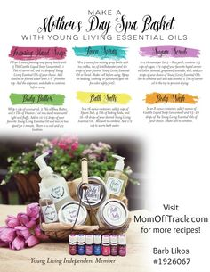 to Make a Mother's Day Spa Basket Recipes for how to make spa products with Young Living Essential Oils.Recipes for how to make spa products with Young Living Essential Oils. Young Living Oils, Young Living Essential Oils, Mothers Day Spa, Spa Basket, Basket Ideas, Living Essentials, Bare Essentials, Linen Spray, Pure Oils