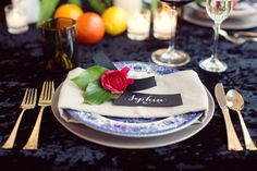 Lovely place setting. Photo by Sarah Kate, Photographer. www.wedsociety.com #wedding #placesetting