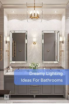 Chandeliers, wall sconces, recessed lighting and more lighting design ideas to help you make your bathroom decor stand out. Bathroom Renovation Cost, Bathroom Plans, Bathroom Spa, Bathroom Lighting, Bathroom Makeovers, Budget Bathroom, Master Bathroom, Cool Lighting, Lighting Design