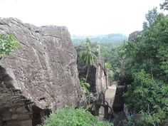 View of the temple through rocks