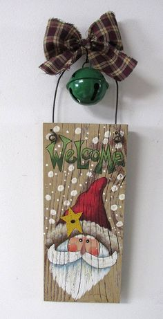 Green Welcome Sign featuring Santa Hand Painted on Reclaimed