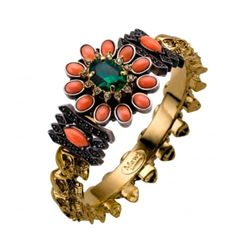 Mawi Skull Bangle with Coral & Emerald Stones