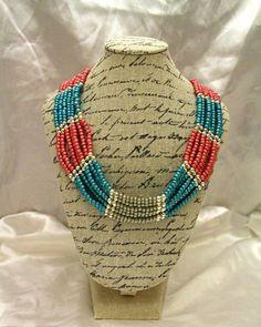 #seedbeads #necklace #bluematt #pinkmatt #silver Seed Beads, Beaded Necklace, Silver, Pink, Handmade, Crafts, Blue, Jewelry, Beaded Collar