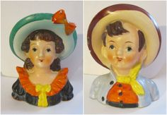 Occupied Japan Headvase Boy And Girl 4 Inch Head Vase Companions #OccupiedJapan