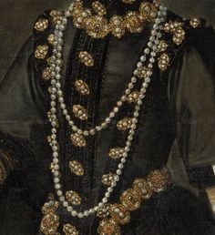 ca. 1585 Infanta Catalina Micaela by Alonso Sánchez Coello (Museo Nacional del Prado - Madrid Spain) bodice material and jewels