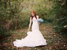 October wedding in Knoxville, TN. Ivory mermaid dress by Essense of Australia.