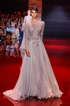Sheer back chiffon formal dresses,long sleeve with crystal beads floor-length evening dress,prom dress on Etsy, $199.00