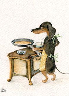 Best Dogs Love Sayings Puppys Ideas Dachshund Art, Dachshund Puppies, Weenie Dogs, Daschund, Vintage Dachshund, Doggies, Dog Illustration, Illustrations, Animals And Pets