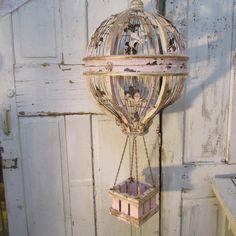 Ornate hot air balloon birdcage hand painted pink and gold distressed rusty fleur de lis rhinestones bird cage home decor anita spero