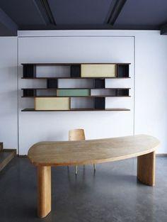charlotte perriand bookcase and freeform desk -artsy