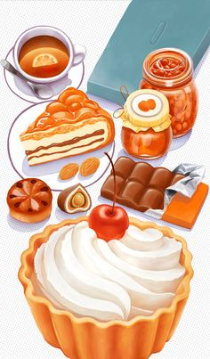 Tasty food for Dixy by Catzwolf , via Behance Real Food Recipes, Dessert Recipes, Dessert Illustration, Cute Food Drawings, Food Sketch, Watercolor Food, Food Painting, Cupcakes, Tasty