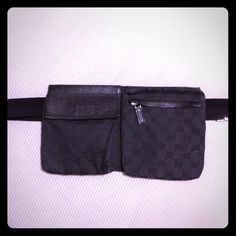 Gucci waist pouch bag Pre-loved 100% AUTHENTIC Gucci black waist bag. This baby needs a new home! In pretty good condition, she's just showing a little age ☺ There is some scratches on the buckle and glue or something on the front of the zippered pocket (4th picture). Still a gorgeous waist pouch! Great for when you don't want to carry a purse! Gucci Bags
