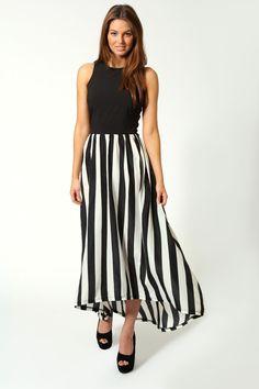 Suzie Monochrome Contrast Top Maxi Dress £30 >> http://www.boohoo.com/restofworld/clothing/new-in/icat/newin/maxi-dresses/suzie-monochrome-contrast-top-maxi-dress/invt/azz56940