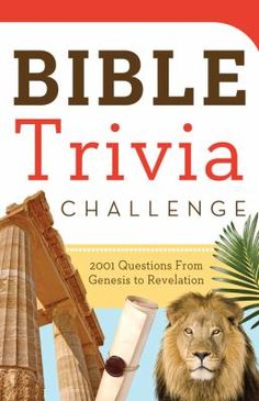 If you enjoy Bible trivia questions, here are 2,001 to love! Take a guided tour of the Bible--from Genesis through Revelation--with the 200, 10-question quizzes inside.