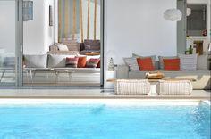 Hayek is a luxury villa for rent in Mykonos, Greece. The Villa has 6 bedrooms and can host up to 11 guests. Mykonos Villas, Mykonos Greece, Outdoor Living, Outdoor Decor, Outdoor Sofas, Beautiful Villas, Luxury Villa, Future House, Interior Design