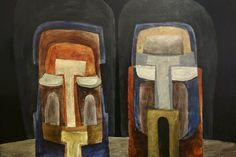 'Two heads' (1961) by Latvian-born Australian artist Jan Senbergs (b.1939). Enamel paint on composition board. via art blart