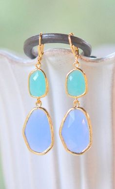 Periwinkle and Turquoise Statement Earrings in Gold