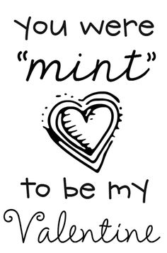 Printable for giving away Girl Scout Cookies for Valentine's Day - Thin Mint Valentine card -