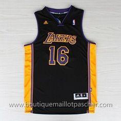 maillot nba pas cher Los Angeles Lakers Gasol #16 Noir nouveaux tissu 22,99€