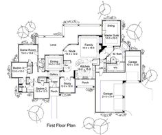 AAA !!! Plan HHF-5818 First Floor Plan flip the MB and garage with the 2ndary BR and make study bigger, add bedroom near MB