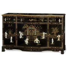 China Furniture Online Black Lacquer Sideboard, Hand Painted Courtyard Scene with Mother Pearl Courtesans Inlay Cabinet in Black How To Clean Furniture, Unique Furniture, Painted Furniture, Furniture Online, Chinese Furniture, Oriental Furniture, Funky Home Decor, Asian Home Decor, Black Platform Bed
