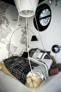 Frette Showroom featuring Wallpapereds black and white world map wallpaper available from www.wallpapered.com