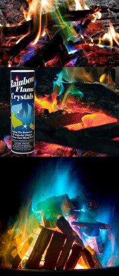 Mystical Fire Rainbow Flame Crystals: Transforms Any Fire. Use the Rainbow Fireplace Flame Crystals on any fire to create spectacular and mystical green and blue flames. #firemagic #firepowder