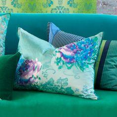 Fergana Jade - Stunning Digital Damask Cushion   Designers Guild USA