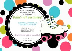 Free Roller Skating Party Invitation Template: