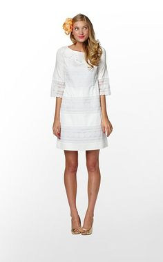 Lily Pulitzer dress - cotton sateen with lace details.  Summery.