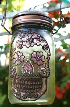 Mason Jar Solar light, Day of the Dead Sugar Skull, Sun Jar, Yellow tinted glass canning jar, Moroccan Style Lantern. $25.00, via Etsy.
