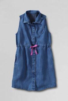 Girls' Sleeveless Button Down Tencel Dress from Lands' End