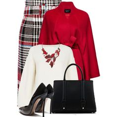 A fashion look from December 2017 featuring white sweater, red cape and fringe skirt. Browse and shop related looks. Xl Fashion, Women's Fashion Dresses, Look Fashion, Daily Fashion, Womens Fashion, Casual Skirt Outfits, Classy Outfits, Chic Outfits, Xl Mode
