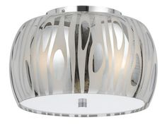 Photon 1 Light 13'' Chrome Incandescent Flush Mount With Metallic Swirl Glass