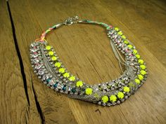 Stunning Braided Neon Yellow Crystals and by rockspapermetal, $125.00