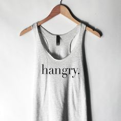 Hangry Tank Top for Women Hangry Shirt Hungry and Food Shirts Funny... ($20) ❤ liked on Polyvore featuring tops, silver, tanks, women's clothing, silver shirt, silver tank, white top, print tank top and print shirts