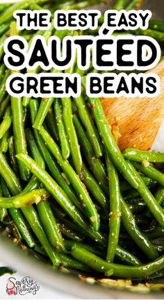 Easy Sautéed Green Beans are a simple side dish that's quick to whip up and tastes amazing. Make it with fresh or frozen green beans for Easter, Thanksgiving, Christmas or anytime you want some greens on your plate. | #holidayrecipes #easterfood #easterdinner #easterrecipes #thanksgivingrecipes #sidedish #easyrecipes #thanksgiving #holidayrecipes Easy Healthy Recipes, Vegetable Recipes, Easy Dinner Recipes, Great Recipes, Easy Meals, Veggie Meals, Dinner Ideas, Favorite Recipes, Recipe For Mom