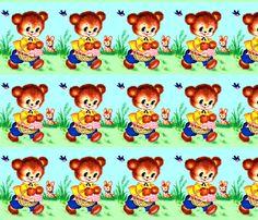 vintage retro kitsch seamless border garden teddy bears bunnies bunny rabbits picnic baskets birds swallows kawaii nursery lolita nursery infants fabric by raveneve on Spoonflower - custom fabric