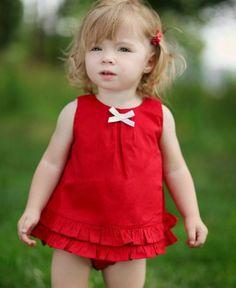 Amazon.com: RuffleButts Toddler Girls Red Ruffled Cotton Swing Top: RuffleButts: Clothing