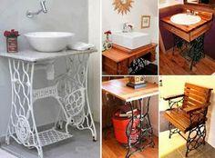 Mesas con Maquinas de Coser Recicladas, Ideas para Reciclar Muebles
