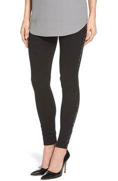Hue Sequin Trim Ponte Leggings available at #Nordstrom