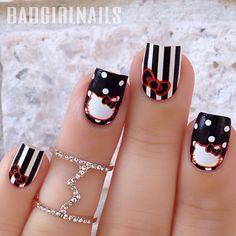 Hello Kitty & Cat Paw Prints Toe Nail Art Design , Have you even seen hello Kitty nail styles before? the lovable hello Kitty ought to be the foremost common cat within. Fancy Nails, Love Nails, Pretty Nails, Bling Nails, Pedicure, Nailart, Hello Kitty Nails, Cat Nails, Cute Nail Art