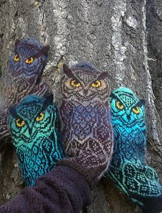- Owl mittens with knit-on ears. More Owl mittens with knit-on ears. Mittens Pattern, Knit Mittens, Knitted Gloves, Knitting Socks, Knitting Stitches, Hand Knitting, Vintage Knitting, Tongs Crochet, Knit Crochet