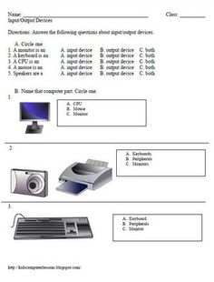 Input and Output Devices Free Worksheet and lesson