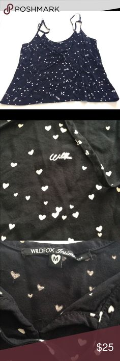 Wildfox Intimates Fun hearts Sleep Cami PJ Top Wildfox Women's Intimates Black and white hearts Sleep Cami PJ Top Size M- ties in front! Has adjustable straps. Wildfox Intimates & Sleepwear