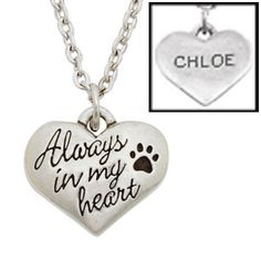 Personalize this puffed heart necklace with a beloved pet's name.