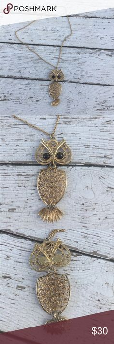 Vintage Sarah Coventry Articulated Owl Necklace Gold tone vintage Sarah Coventry articulated owl necklace. Owl has black resin cabochon eyes. Pendant is approximately 4 inches long, chain approximately 23 inches approximately 12 inch drop when worn vintage Jewelry Necklaces